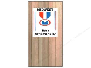 Midwest Products Company Wood Shapes: Midwest Balsa Wood Strips 1/8 x 3/16 x 36 in. (36 pieces)