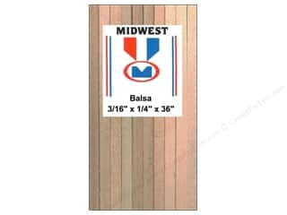 Midwest Products Company Wood Shapes: Midwest Balsa Wood Strips 3/16 x 1/4 x 36 in. (20 pieces)