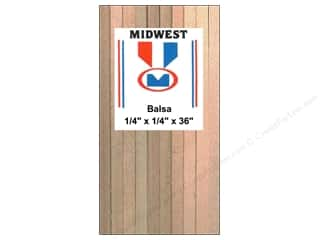 Midwest Products Company Wood Strips: Midwest Balsa Wood Strips 1/4 x 1/4 x 36 in. (20 pieces)