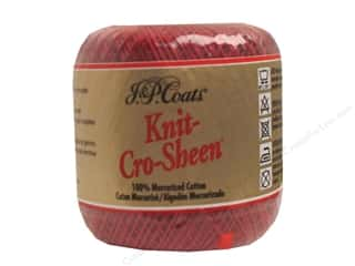 J&P Coats Knit-Cro-Sheen Crochet Thread #196 Cardinal