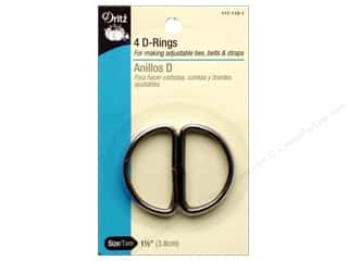 "1 3/16"" D rings: D Rings by Dritz 1 1/2 in. Black 4pc."