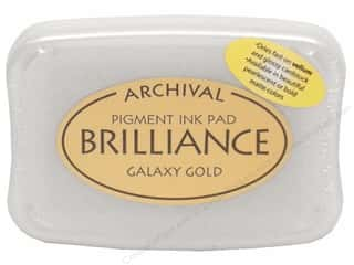 Stamping Ink Pads 2 1/2 in: Tsukineko Brilliance Large Craft Stamp Pad Galaxy Gold
