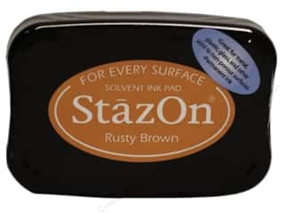 Stamping Ink Pads Brown: Tsukineko StazOn Large Solvent Ink Stamp Pad Rusty Brown