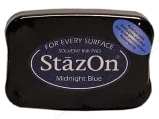 Stamping Ink Pads Blue: Tsukineko StazOn Large Solvent Ink Stamp Pad Midnight Blue