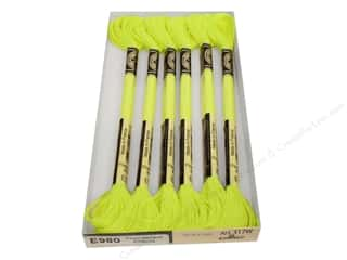 DMC Light Effects Embroidery Floss 8.7 yd. #E980 Fluorescent Effects Neon Yellow