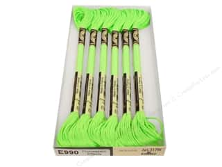 DMC Light Effects Embroidery Floss 8.7 yd. #E990 Fluorescent Effects Neon Green