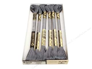 Floss Polyester Floss: DMC Light Effects Embroidery Floss 8.7 yd. #E317 Precious Metal Effects Titanium (6 skeins)