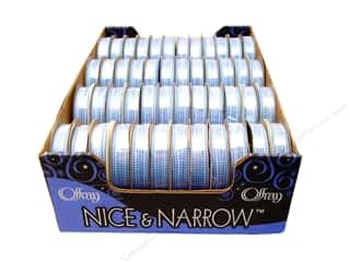 Offray Spool-O-Ribbon N&amp;N Mini Checks 1/4&quot; Blue (48 spools)