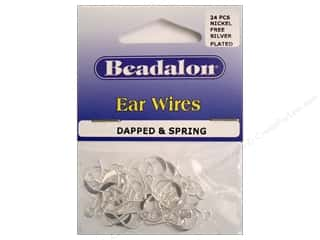 Beadalon Ear Wires French Dapped&Spring NF Silver