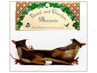 Decorative Floral Critters & Accessories Floral & Garden Accents Cardinal: Accent Design Artificial Bird 4 1/4 in. Cardinal Brown/Tan/Natural Feather 2 pc.