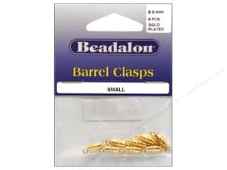 Clasps: Beadalon Barrel Clasps 8mm Small Gold 8 pc