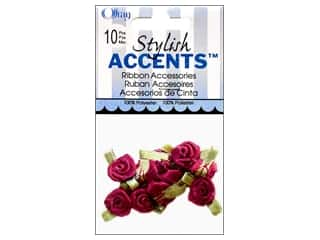 Offray Ribbon Accent Roses Small 10pc Wine
