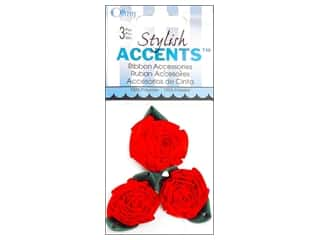 Offray Ribbon Accent Roses Swirl Lg 3pc Red/Forst