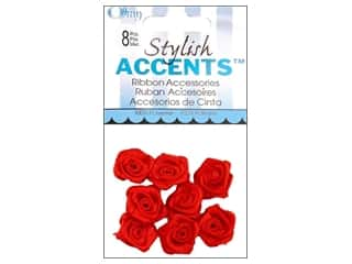 Offray Ribbon Accent Roses Mini Blooming 8pc Red