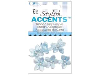 Ribbons Ribbon Roses: Offray Ribbon Accent 5 Petal Violet 6pc Light Blue