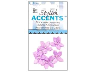 Ribbons Ribbon Roses: Offray Ribbon Accent 5 Petal Violet 6pc Light Orchid