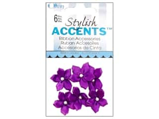 Ribbon Work: Offray Ribbon Accent 5 Petal Violet 6pc Purple