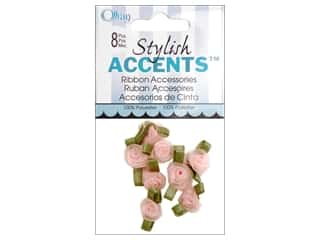 Offray Ribbon Accent Roses Sheer Small 8pc Powder Pink