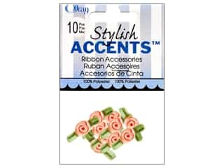 Ribbons Offray Ribbon Accent: Offray Ribbon Accent Roses Small 10pc Peach