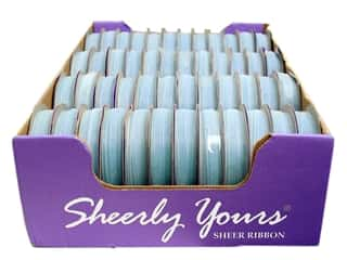 Offray Spool-O-Ribbon Sheer 1/4&quot; Light Blue (48 spools)