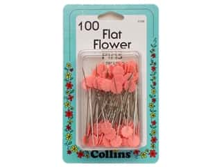 straight pins: Collins Pins Flat Flower Pink 100 pc
