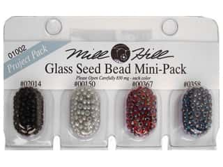 Embroidery $4 - $10: Millhill Glass Bead Mini-Pack 2014, 150, 367, 358-Black, Grey, Garnet, Cobalt Blue
