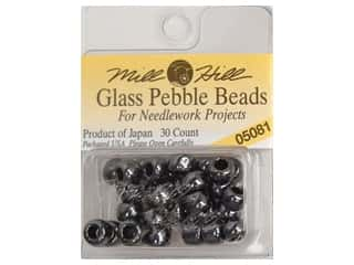Beads Black: Mill Hill Pkg Pebble Beads 30 pc Black Frost