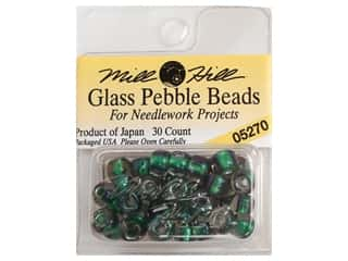 Mill Hill Pkg Pebble Beads 30 pc Bottle Green