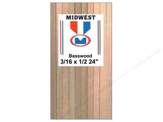 "Midwest Basswood Sheet Strip 3/16""x1/2""x24"" (15 pieces)"