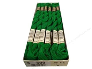 Stitchery, Embroidery, Cross Stitch & Needlepoint DMC Pearl Cotton Skein Size 5: DMC Pearl Cotton Skein Size 5 #699 Green (12 skeins)