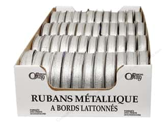 Offray Spool-O-Ribbon Wire-Edge Galena Silver 3/8&quot; (48 spools)