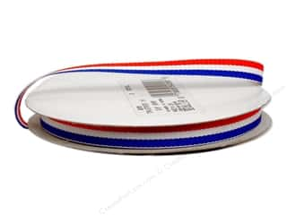 "Floral Arranging Memorial / Veteran's Day: Offray Ribbon Woven Tri-Stripe Red/ White/ Royal 3/8"" (10 yards)"