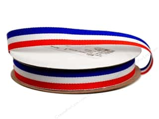"Offray Blue: Offray Ribbon Woven Tri-Stripe Red/ White/ Royal 5/8"" (10 yards)"