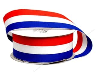 "Offray Blue: Offray Ribbon Woven Tri-Stripe Red/ White/ Royal 1 1/2"" (10 yards)"