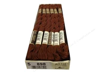 Pearl Cotton Brown: DMC Pearl Cotton Skein Size 5 #898 Very Dark Coffee Brown (12 skeins)