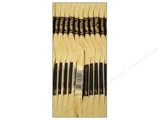 Floss Cream/Natural: DMC Six-Strand Embroidery Floss #677 Very Light Old Gold (12 skeins)