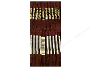 Tea & Coffee Yarn & Needlework: DMC Six-Strand Embroidery Floss #938 Ultra Light Dark Coffee Brown (12 skeins)