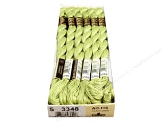 DMC Pearl Cotton Skein Size 5 #3348 Light Yellow Green (12 skeins)