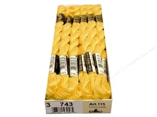 Pearl Cotton $16 - $17: DMC Pearl Cotton Skein Size 3 #743 Medium Yellow (12 skeins)