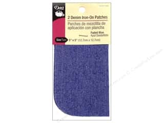 Dritz Iron On Patches Denim Faded Blue 5&quot;x 5&quot; 2pc