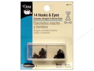 Hooks and Eyes by Dritz Size 1 Black 14pc.