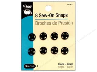 fasteners: Sew-On Snaps by Dritz Size 1 Black 8 pc.