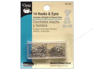 Eyes $2 - $3: Hooks and Eyes by Dritz Size 3 Nickel 14pc.