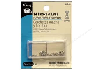 Quilt Woman.com $0 - $1: Hooks and Eyes by Dritz Size 0 Nickel 14pc.
