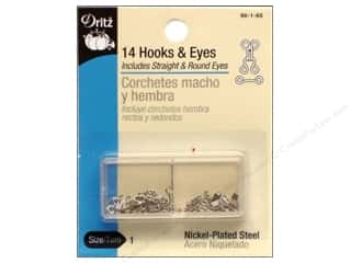 fasteners: Hooks and Eyes by Dritz Size 1 Nickel 14pc.