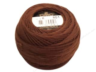 Yarn & Needlework Brown: DMC Pearl Cotton Ball Size 8 #801 Dark Coffee Brown (10 balls)