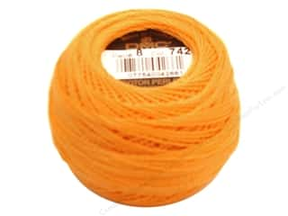 DMC Pearl Cotton Ball Size 8 #742 Light Tangerine (10 balls)