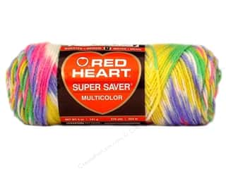 Red Heart Super Saver Yarn #0448 Sherbet Print 5 oz.