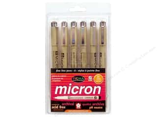 Dolls and Doll Making Supplies Green: Sakura Pigma Micron Pen Set Size .45mm Assorted 6pc