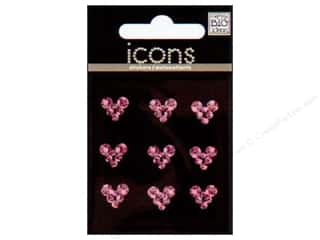 Clearance Art Institute Glitter 1oz Glass Shards: MAMBI Sticker Rhinestone Icon Hearts Pink